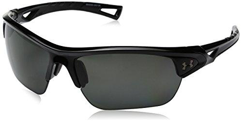 Under Armour Gafas de sol Under Armour Ua Octane Storm Shiny Black / Grey Polarized Lens Wrap, Negro / Gris, 63 mm