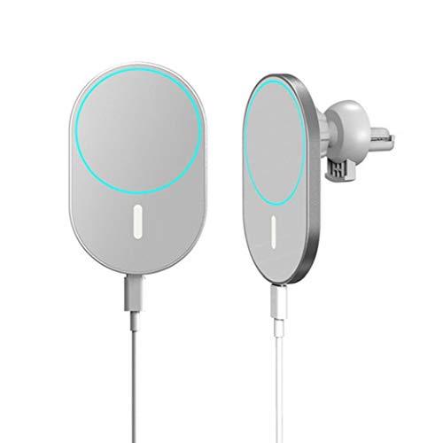 YepYes Coche del Montaje del Cargador del teléfono del sostenedor de Carga X19 Hilos Blanco magnético Compatible con iPhone 12 Mini Pro
