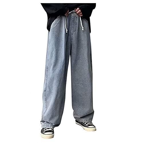 Pantalones vaqueros de corte recto para hombre, con cordón en azul, largos, de algodón, corte holgado, corte...