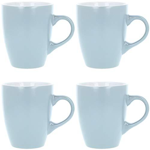 com-four® 4x Kaffeebecher aus Keramik - Kaffee-Tasse im modernem Design - Kaffeepott für Kalt- und Heißgetränke - 340 ml (4 Stück - hellgrau)