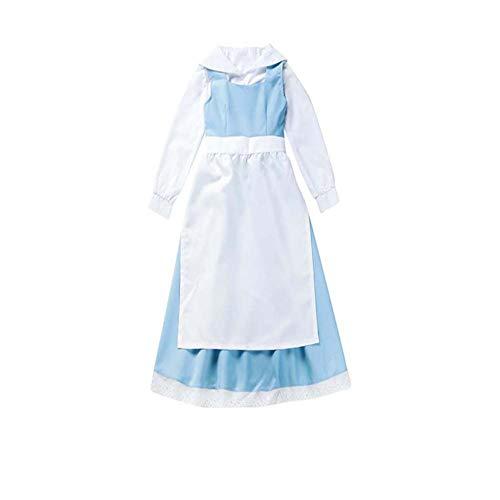 zhiqing Frauen blau die schöne und das Biest Bell Kleid Anime Cosplay - Kleidung Halloween zimmermädchen Kleid (M)