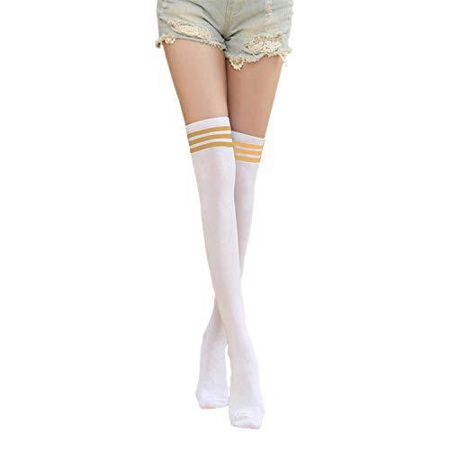 Hirsch & Insel Kniestrümpfe Damen mit Streifen Overknee Overknie Socken Mädchen Schenkel Hohe Gelbe Streifen One Size