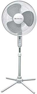 Comfort Zone CZST161BTE 3-Speed 16-inch Oscillating Pedestal Fan with Folding Base and Adjustable Height and Tilt