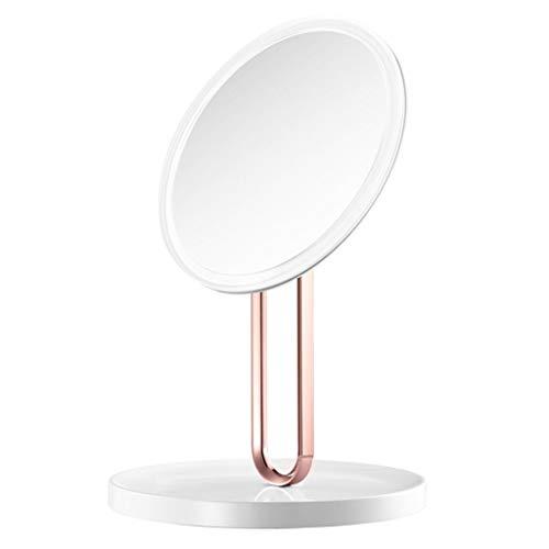 YYF Tragen LED Schminkspiegel Glowing Schminktisch Spiegel Ladespiegel Sende eine Dame als Geschenk Einfach (Color : White)