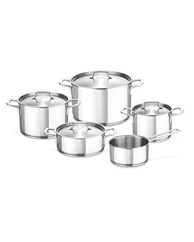 Fissler gourmet regio / Edelstahl-Topfset, 5-teilig, Kochtopf-Set, Töpfe mit Metall-Deckel, Induktion (3 Kochtöpfe, 1 Bratentopf, 1 Stielkasserolle-deckellos)