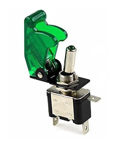 Selector Interruptor Carro de la embarcación de automóviles Auto Coche Iluminado LED Interruptor de palanca con avión de seguridad Flip Up Cubierta Guardia verde 12V20A Transparente ( Color : 1 set )