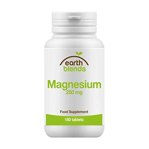 Earth Blends - Magnesium 250mg, Erhalt der Knochen, 180 Tabletten für Erwachsene