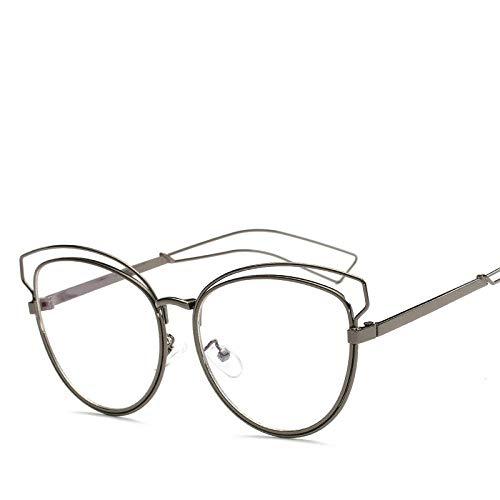 IRCATH Marco de anteojos Ojo de Gato Lente Transparente Personalidad Gafas ópticas Marcos Mujeres Vintage Metal Gafas de computadora-Pistola Negra