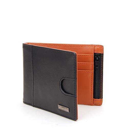 Ellemka - Billetera Hombre Slim | Cuero Autentico Bisonte Búfalo RFID | Cartera Tarjetero | Serie MZM Modelo VABB Caja Regalo - Bi-Color Piel color Negro Naranja