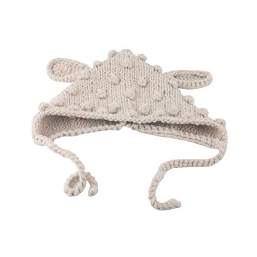 Tendycoco Baby gebreide muts, wol, wintermuts, winddicht, bescherming tegen kou, warm, zwart, 23 * 22cm, Beige