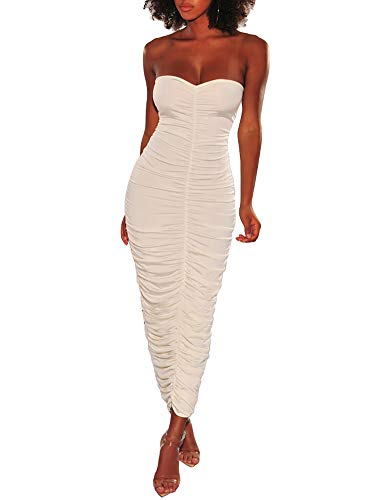 Women's Sleeveless Off Shoulder Dresses – Ruched Bodycon Party Club Night Sexy Maxi Dress