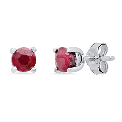 Genuine Ruby Prong Set Round Stud Earrings in Sterling Silver (5mm)