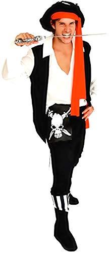 Disfraz de Pirata - Disfraz - Carnaval - Halloween - corsario de los Mares - Caribe - Color Negro - Adultos - Hombre - niño - Talla única - Idea de Regalo para cumpleaños