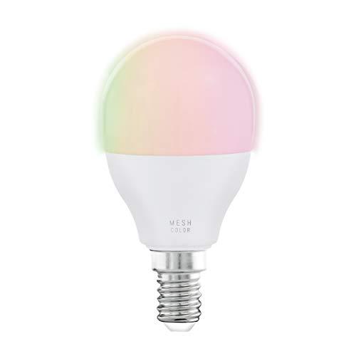 EGLO connect LED E14 lampa, smart hemglödlampa, 5 watt (motsvarande 35 watt), 470 lumen, E14 LED dimbar, färgtemperatur och RGB färger, justerbar LED-ljuskälla P45, Ø 4,5 cm