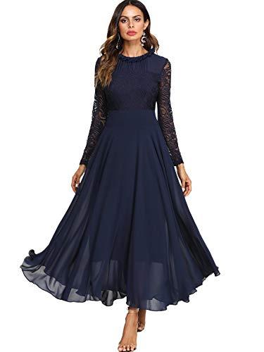 DIDK Damen Maxikleider Langarm Spitzen Plissee Brautjungfernkleid Kleider A Linie Kleid Stehkragen Ballonkleid Hoher Taille Marineblau S