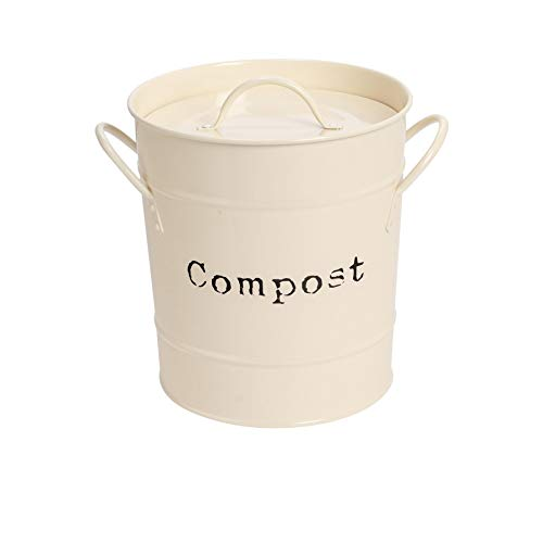 Harbour Housewares Industrie Compost Bin - Vintage Style Stahl Küche Storage Bucket - Removable Inner - Creme