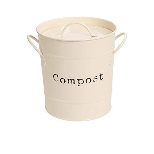Harbour Housewares Le Compost Industriel Bin - Style Vintage de Cuisine en Acier de Stockage Bucket - Amovible intérieure - Crème