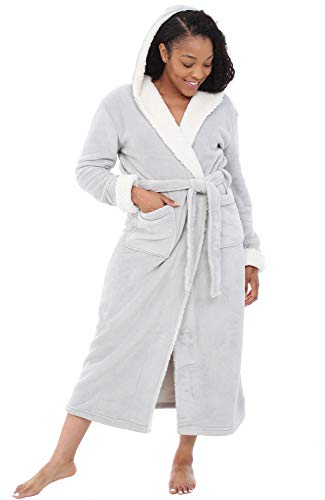 Alexander Del Rossa Women's Warm Fleece Robe with Hood, Long Plush Bathrobe, Large-XL Light Gray with Sherpa (A0273LGRXL)