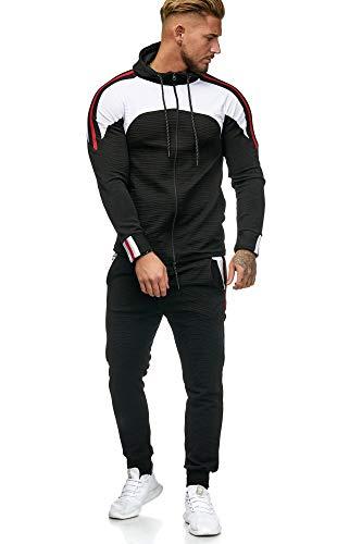 OneRedox Herren Jogginganzug Sportanzug Männer Trainingsanzug Fitness Sporthose und Trainingsjacke Modell 1148 (XL, Schwarz)