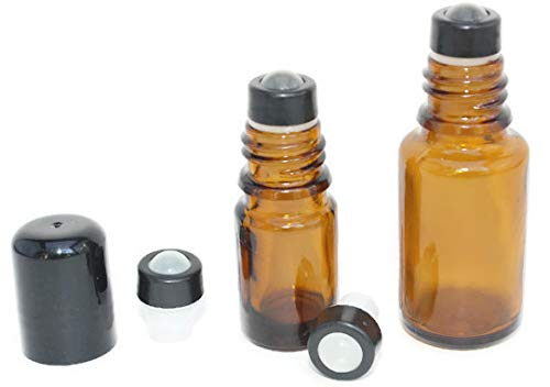 Essential Oil Roller Inserts for 5 and 15ml Essential Oil Bottles. Pack of 12 GLASS Leak Proof with removable snap ring Roller Tops. Great for Oils, Blends, and DIY.