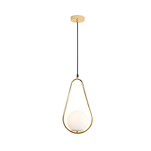 Postmodern Pendant Light, Gold Metal Geometric Hanging Lamp White Glass Shade, Minimalist Ceiling Lighting Fixtures for Kitchen, Dining Room, Study, Bedroom, E27 Base Chandelier (Size : Small)