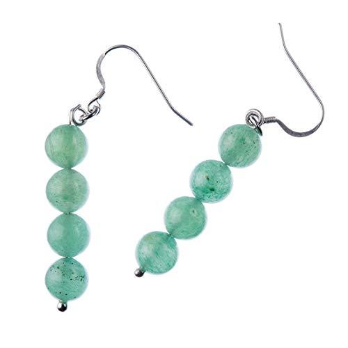 Pendientes de bolas de aventurina verde 8 mm y plata 925