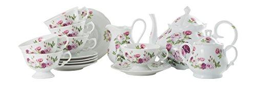 La Cija Rose Garden Alaska-Set da tè in Porcellana Servizi 6, Colore: Bianco