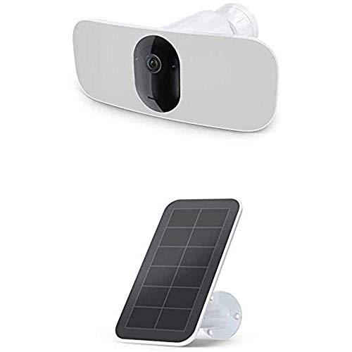 Arlo 24h Schutzpaket Bundle | Pro 3 Floodlight Überwachungskamera und Solar Panel Ladegerät, weiß (FB1001 & VMA5600)