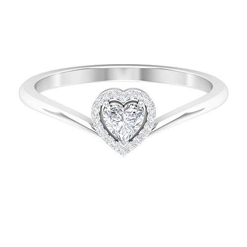 Anillo de corazón de diamante de 4 mm, anillo de halo de diamante de 1/4 quilates, anillos de promesa para ella, 14K Oro blanco, Size:EU 53