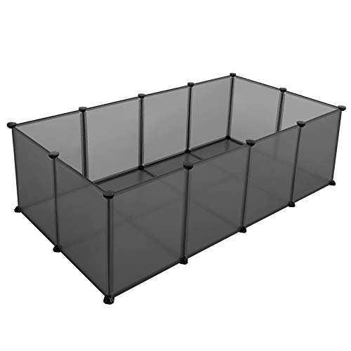 SONGMICS Pet Playpen, Fence Cage with Bottom for Small Animals, Guinea Pigs, Hamsters, Bunnies, Rabbits, Pet Exercise Run, Plastic Panels, Gray ULPC002G01