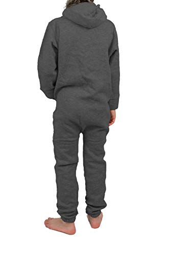 Gennadi Hoppe Kinder Jumpsuit Overall Jogger Trainingsanzug Mädchen Anzug Jungen Onesie,dunkel grau - 2
