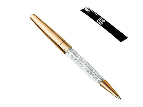 -Bolígrafo con punta de cristal hecho con 140 cristales brillantes, color dorado