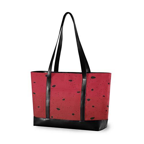 Watermelon Seeds Red 14 15 15.4 15.6 inch Laptop Tote Bag for Women Large Lightweight and waterproof Computer Handbags Laptop Shoulder Messenger Bag