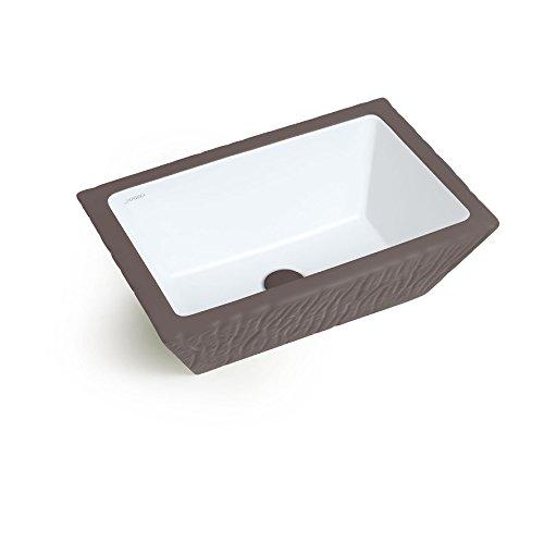 Vasque Lavabo à Poser/Suspendu Rectangulaire Pietra Basalte Matt en céramique 60x40xH20 cm (avec bassin blanc)