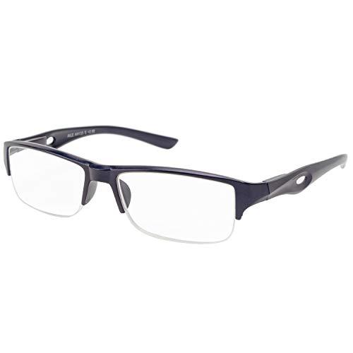 エール 老眼鏡 2.0 度数 メンズ ハーフリム バネ蝶番 ネイビー AH133S