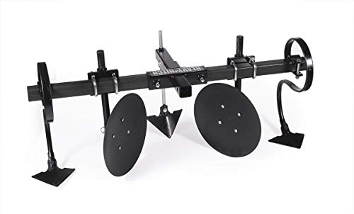 Heavy Hitch Multi-Purpose Disc Cultivator Garden Bedder Attachment with S-Tines and Row Maker Insert Powdercoated in Black | USA Made for Small Tractor Applications