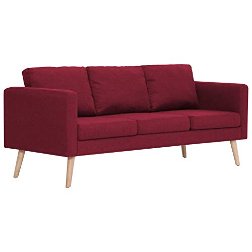 vidaXL Sofa 3-Sitzer mit Rückenkissen Sitzkissen Design Polstersofa Loungesofa Couch Lounge Stoffsofa Sitzmöbel Wohnzimmer Stoff Holzrahmen Weinrot