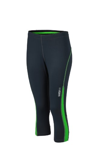 JAMES & NICHOLSON Ladies Running 3/4 Tights Pantalon de Maternité, Vert (Iron Grey/Green), (Taille Fabricant: Medium) Femme