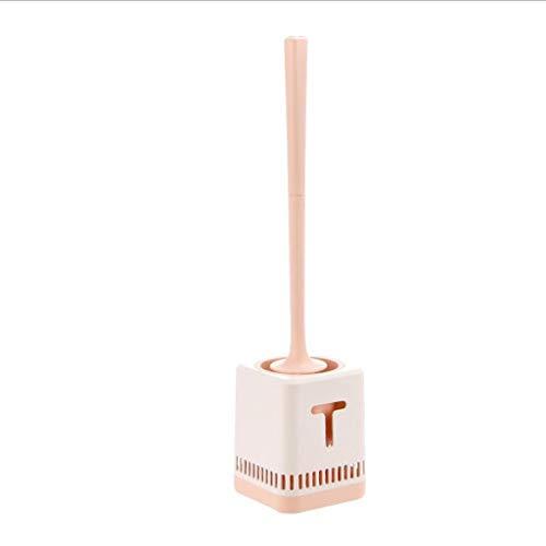 Teri escobilla de baño Cepillos higiénico montado en la Pared de Mango Largo Cepillo más Limpio de Aseo con Base de baño WC Herramienta Inicio Ducha Accesorios de baño (Color : Pink)