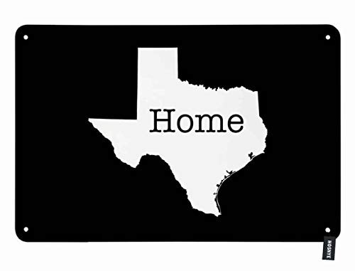 HOSNYE Texas State Outline Tin Sign White on Black with Text Home Inserted Vintage Metal Tin Signs for Men Women Wall Art Decor for Home Bars Clubs Cafes 8x12 Inch