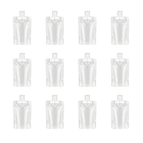 YASUOA 12 bolsas de viaje rellenables vacías, bolsas de gel de ducha para loción y champú, bolsas exprimibles a prueba de fugas, 30 ml/1 oz