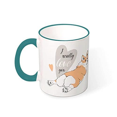 KittyliNO5 Corgi Ich Liebe Dich wirklich Hund - Taza de café (porcelana, 330 ml)