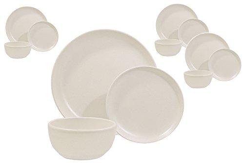 Matte White 12 Piece Dinnerware Set, Made 100% in...