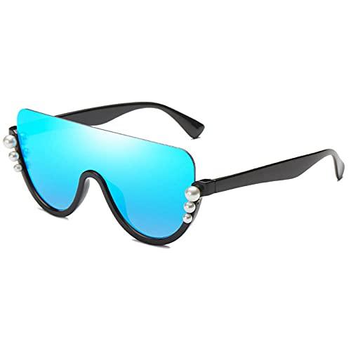 HPPSLT Al Aire Libre Medio Marco Blanco Perla Mujer Gafas de Sol Moda plástico Gafas de Sol Damas Negro Rosa Espejo Sombras-marrón De Moda (Color : Blue)