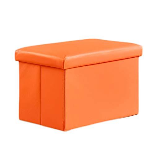 Ottoman Wddwarmhome Tabouret de Rangement Pliable en PVC avec Repose-Pieds ménager en PVC - Capacité de Charge maximale de 150 kg (Couleur : Orange, Taille : 48 * 30 * 30cm)