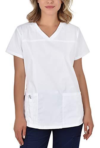 B-well Andrea Berufskleidung Damen Kasack Schlupfkasack Kurzarm V-Ausschnitt für Krankenschwester, Zahnarzt, Ärzte, Dienstmädchen, Studenten, Tiermediziner Weiß 38