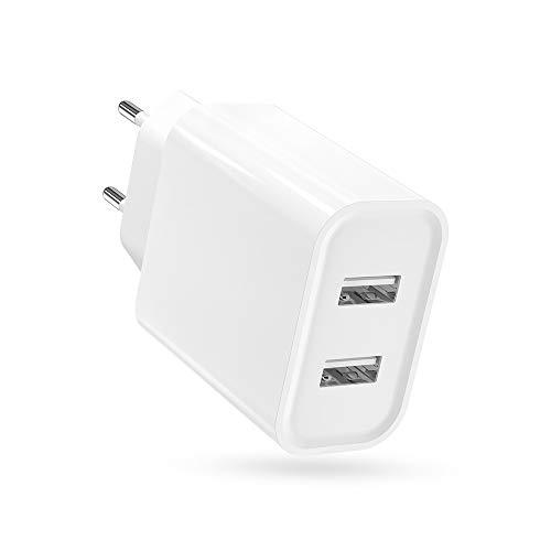 BERLS Cargador USB Pared con 2 Puerto, 17W Carga Rapida para Phone XS MAX XR X 8 7 6 iPad Pro Mini Samsung S10 S9 S8 A50 A8 A6 J6 M20 Huawei P20 Lite Mate 20 Lite Xiaomi A1 A2 Redmi, 2.1A MAX