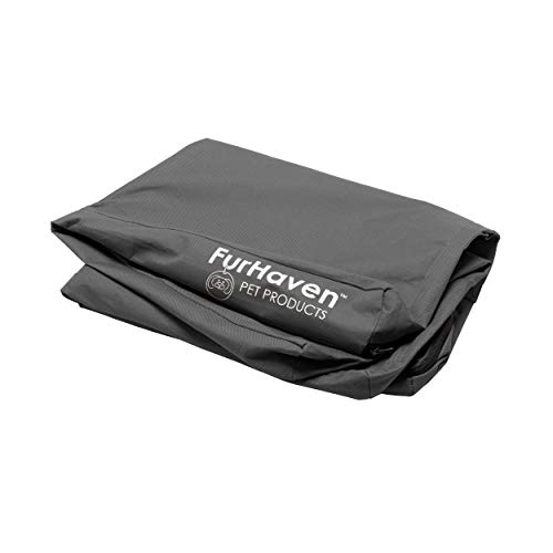 Furhaven Replacement Pet Bed Cover - Water-Resistant Indoor-Outdoor Oxford Polycanvas Logo Print Washable Dog Bed Mat Cover, Stone Gray, Jumbo (X-Large)