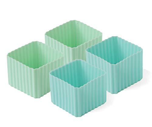 Lekkabox Cups, 4er Set - Silikon Förmchen für saubere Trennung in der Brotdose | Bentobox Lunchbox Zubehör (Pastell)