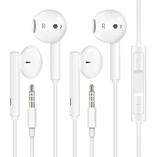 [2er Pack] In-Ear Kopfhörer für iPhone, 3.5mm In-Ear Kopfhörer, kopfhörer mit Mikrofon und Lautstärkeregler für iPhone, iPad, iPod, Android, PC, Leichte Ohrhörer mit 3.5mm Kopfhörern-Weiß